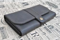 Брутальный вместительный кошелек из кожи
