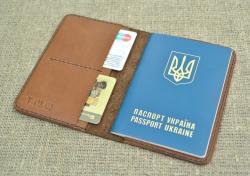 Кожаная обложка для паспорта и карточек