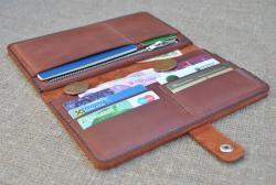 Большой кошелек-клатч из кожи ручной работы