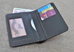 Мужской кожаный кошелек с вертикальной загрузкой
