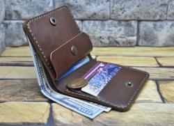 Мужской компактный кошелек ручной работы