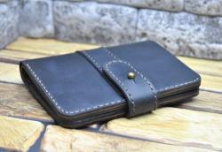 Черный портмоне из натуральной кожи