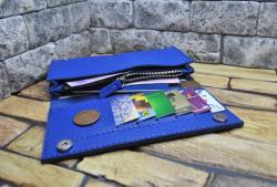 Синий кожаный кошелек ручной работы