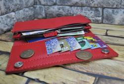 Красный кошелек из кожи сафьяно ручной работы