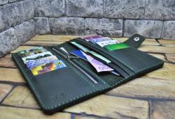 Темно-зеленый кожаный hand made кошелек