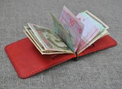 Зажим для денег красного цвета из натуральной кожи
