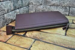 Кожаный клатч из натуральной кожи бордового цвета