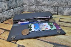 Серый кошелек из натуральной кожи сафьяно