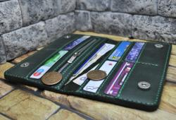 Темно-зеленый кошелек ручной работы из кожи