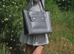 Сумка шоппер серого цвета из натуральной кожи