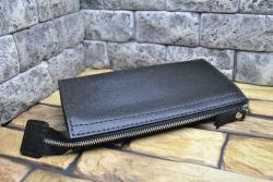 Черный кошелек-клатч из кожи сафьяно ручной работы