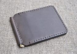 Кожаный зажим для денег шоколадного цвета