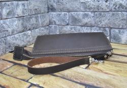 Коричневый кошелек-клатч из кожи для всего