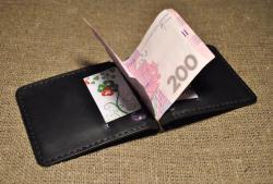 Зажим для денег из кожи черного цвета