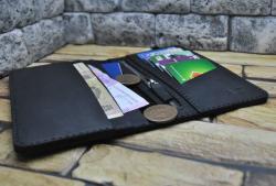Черный бумажник из натуральной кожи ручной работы