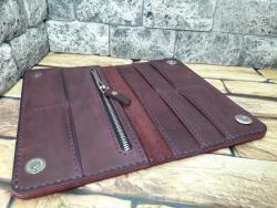 Элегантный кошелек на магнитах из натуральной кожи