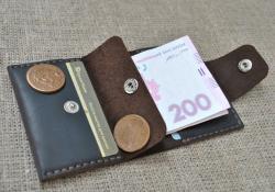 Карманный кожаный кошелек ручной работы