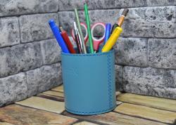 Стакан кожаный для ручек и карандашей