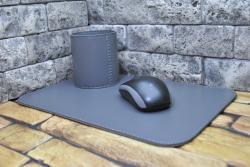 Кожаный набор серого цвета для письменного стола