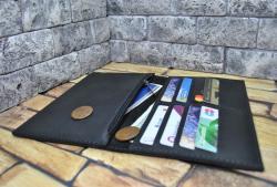 Большой кожаный кошелек черного цвета ручной работы