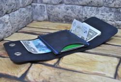 Темно-синий кожаный мини кошелек ручной работы