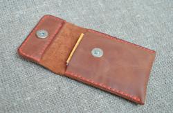 Кардхолдер из кожи коньячного цвета ручной работы