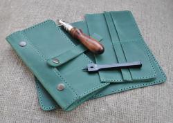 Кожаное портмоне ручной работы для денег и документов